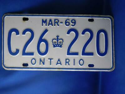 Ontario License Plate 1969 March C26 220 Vintage Canada Muscle Car Shop Sign