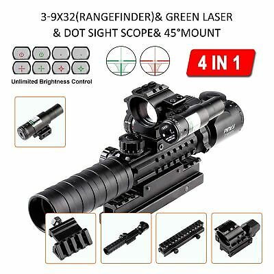 4-in-1 Combo 3-9x32EG Tactical Optical Reticle Riflescope Rangefinder Newest..