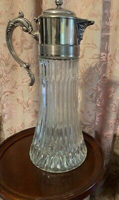 "Vintage Crystal Carafe Pitcher Decanter Silver plate Top 14""x 5 1/2"""