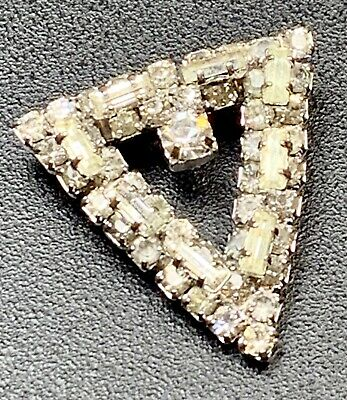 Vintage Brooch Pin Small Art Deco High End Silver Tone Crystal Rhinestones