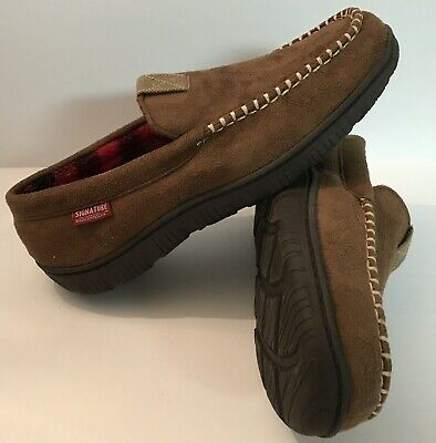 Signature by Levi Strauss Men's Size 9-10 Brown Moccasins Slip-on Slippers