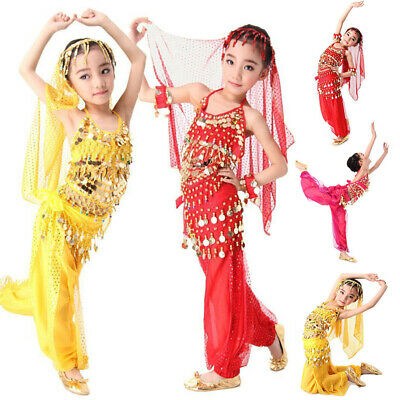Kids Girls Belly Dance Dress Costume Top Pants Bollywood Indian Dancewear Outfit