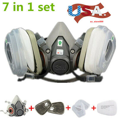 US 7in1 Half Face Gas Mask Facepiece F 6200 Painting Spray Protection Respirator