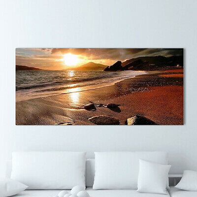 47x20'' Frameless Sunset Beach Landscape Canvas Wall Art Picture Print Decor