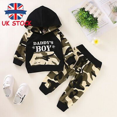 Infant Baby Boy Camo Long Sleeve Hoodies Top Trouser Pant 2Pcs Tracksuit Outfits