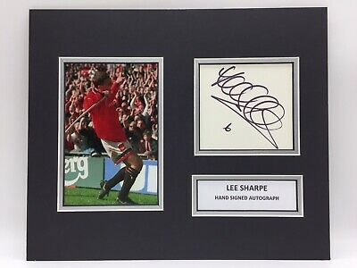 RARE Lee Sharpe Manchester United Signed Photo Display + COA AUTOGRAPH