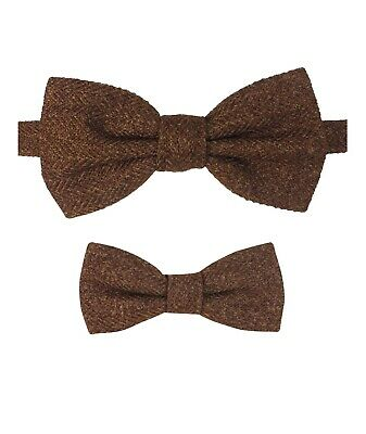 Mens Kids Boys Matching Herringbone Tweed Dickie Bow Tie in Cinnamon Brown