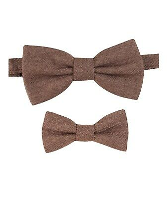 Mens Kids Boys Matching Herringbone Tweed Dickie Bow Tie in Tan Brown