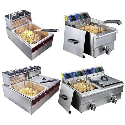 10/12/20L Commercial Electric Deep Fryer Fat Chip Countertop Single/Double Tank
