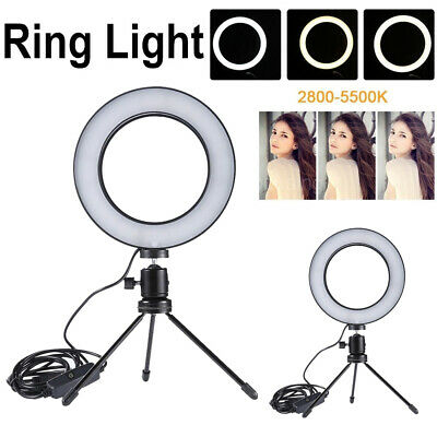Dimmable LED Studio Camera Ring Light 5500K Photo Makeup Video Lamp with Tripods