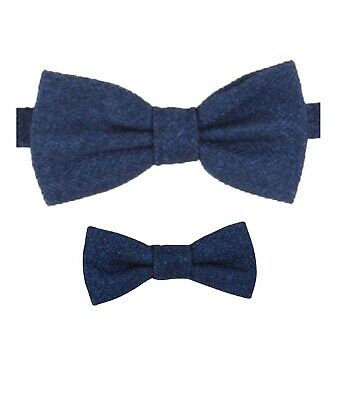 Mens Kids Boys Matching Herringbone Tweed Dickie Bow Tie in Blue