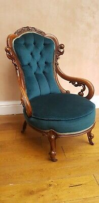 Victorian Mahogany Chair on porcelain castors
