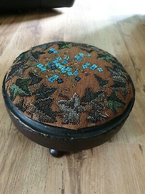 Antique Wooden Footstool With blue beadwork Tapestry