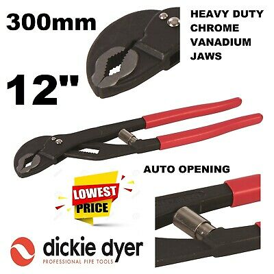 """12"""" Water Pump Pliers Automatic Opening Pipe Plumbing Pro Dickie Dyer 582853"""
