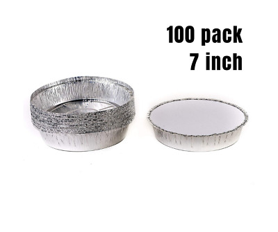 100 Pack - 7 inch. Disposable Round Aluminum Foil Take-Out Pans with Board Lids