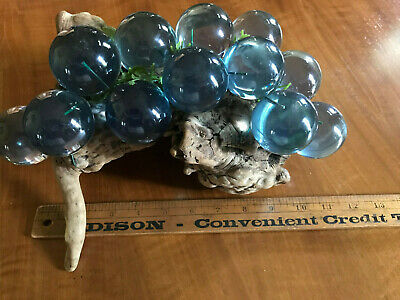 Mid Century Modern Large Blue Lucite / Resin Grape Cluster on Driftwood Free S/H