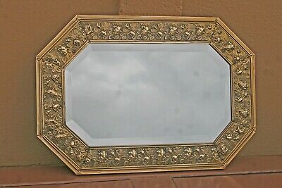 Edwardian Brass Covered Bevel Edged Hanging Mirror