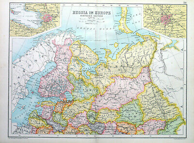 Antique Map Of Russia In Europe Northern Section 1910 John Bartholomew & Co