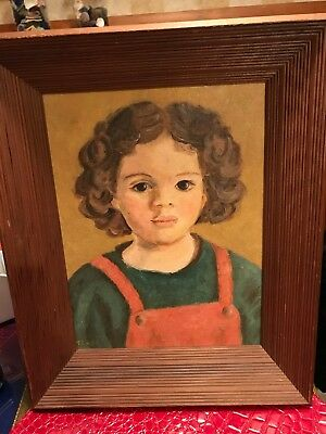 Orig Oil Painting Portrait Curly Haired Girl-Signed / 3D Wood Frame /Vintage