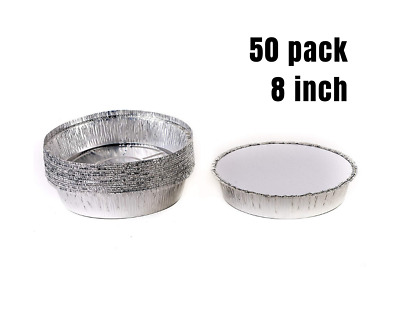 50 Pack 8 Inch. Disposable Round Aluminum Foil Take-Out Pans with Board Lids