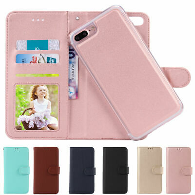 For iPhone XS 8/7/6 Plus  Flip Leather Magnetic Back Removable Wallet Case Cover