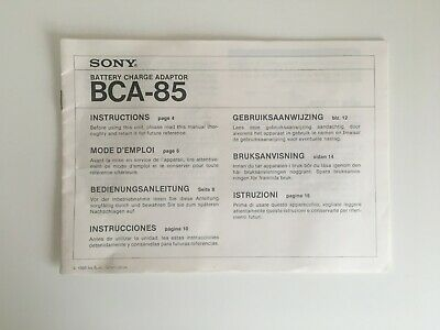 Sony BCA-85 Battery Charger Adaptor Instruction Manual Used INSTRUCTION MANUAL