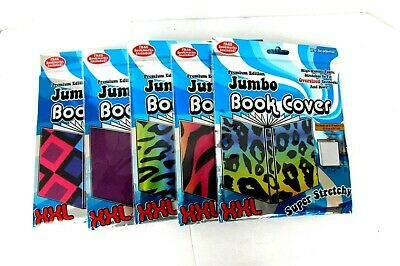 5 Jumbo Stretchable Book Covers Fits Books Up To 10X15 New Multi Design & Colors