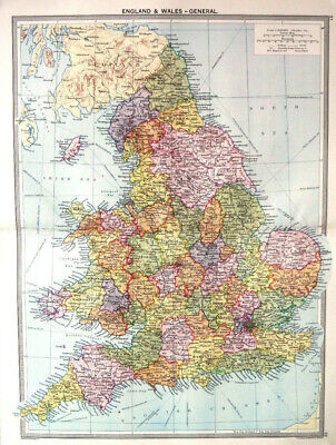 Map Of England & Wales 1930 Antique Large George Philip
