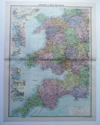 Map Of England & Wales West Cornwall Devon   1930 Antique Large George Philip