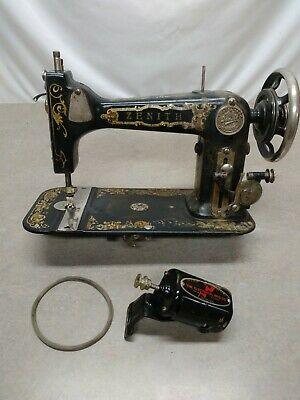 Vintage Zenith Sewing Machine Head With Motor and Belt