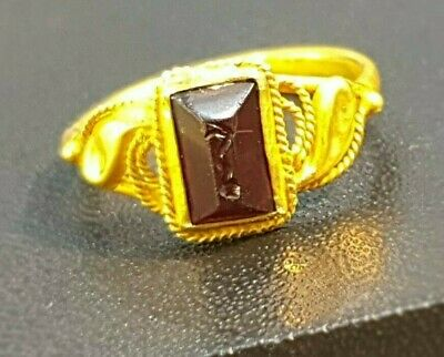 Amazing Intricate Baby Snake Intaglio Old Garnet Solid 22K Gold Signet Seal Ring