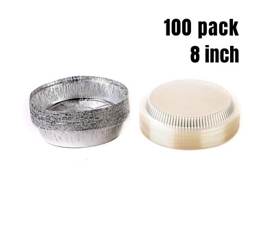 100 Pack 8 Inch. Disposable Round Aluminum Foil Take-Out Pans with Plastic Lids