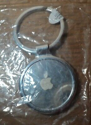 Apple Computer Logo Keychain Silver Tone Metal Key Chain NEW