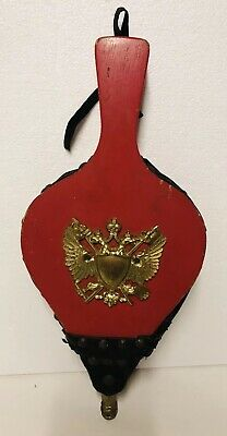 Vintage Wooden Fire Bellow Air Blower Fireplace Tool Brass Eagle Red Japan