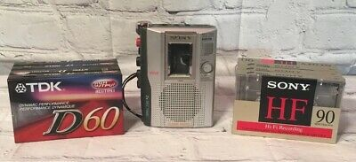 Sony TCM-200DV Clear Voice Handheld Cassette VOR Voice Operated Recorder 8 Tapes