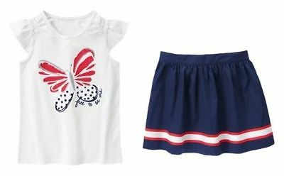 NWT Gymboree FOURTH OF JULY Girls Size 5 Skirt Skort /& Tee Shirt Top 2-PC OUTFIT