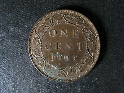 1 cent 1904 Canada one penny copper coin large King Edward VII c ¢ EF-45 Corr.