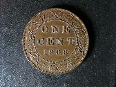 1 cent 1908 Canada one penny copper coin large King Edward VII c ¢ VF-25