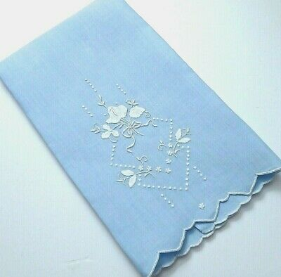 Madeira Embroidery Blue Linen Hand Guest Towel, Lovely Delicate Handwork Vintage