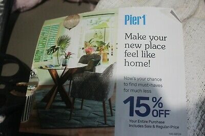 Pier 1 One Coupon 15% Off Your ENTIRE Purchase (in-store/online) Exp 9/30/2019