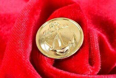 New Old Stock Military-Style Gilt Blazer Button 22mm ~ Yellow Gold Plated Anchor