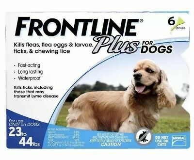 Frontline Plus For Dogs 23-44 lbs 6 Doses BRAND NEW SEALED BOX Flea, Tick
