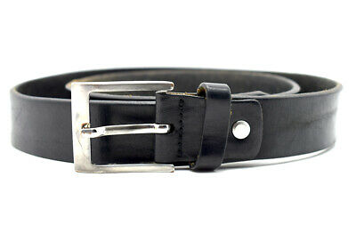 Vintage Handmade Mens Real Leather Belt Black Size 36