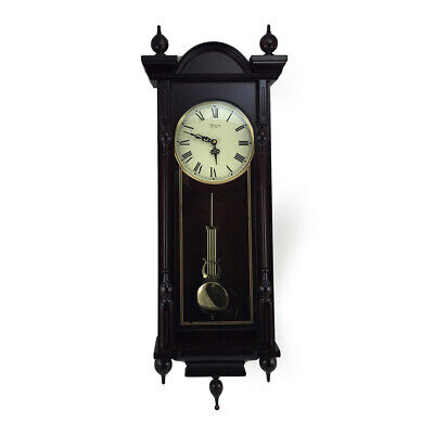 New Bedford Clock Collection Grand 31 Inch Chiming Pendulum Wall Clock in Antiqu