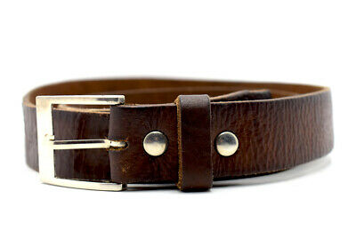 Vintage Hand Made Mens Leather Belt Brown Size 36