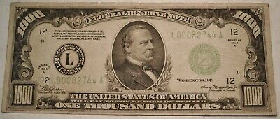 1934 $1000 ONE Thousand Dollar Bill Scarce Light Green Seal