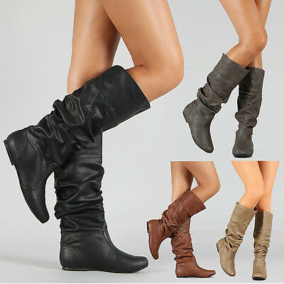 Womens Girls Leather Knee High Boots Winter Wide Leg Stretchy Flat Shoes Size