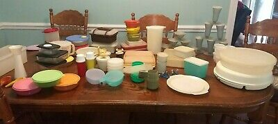 tupperware vintage lot condiments, vented bowls cups lunchbox veggie pie deli