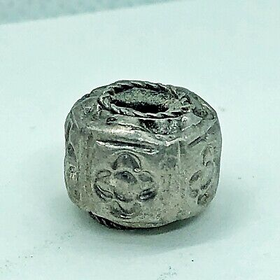 Late Medieval Silver Bead Artifact — Authentic Antiquity Floral Design Antiquity