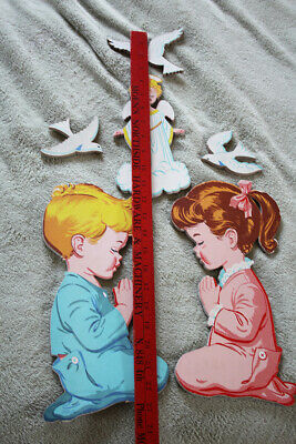 VNTG 1950s Mid Century Modern Kids Praying Heavy Cardboard Cut Out Wall Hanging